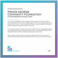 Prince George Community Foundation & Rio Tinto Announce $155,000 gift to BC Cancer - Prince George